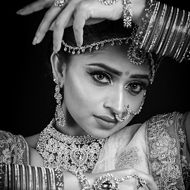 Indian Bride by Paul Phull - Black & White Portraits & People ( black and white, jewellery, makeup, indian, bride )