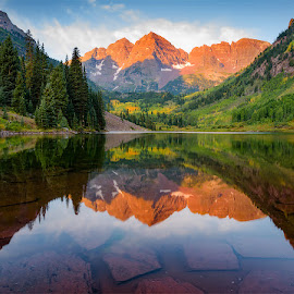 Morning Raga by Sagarika Roy - Landscapes Mountains & Hills ( reflection, mountain, nature, waterscape, colorado, nature up close, maroon bells, landscape, usa, hiking, aspen )