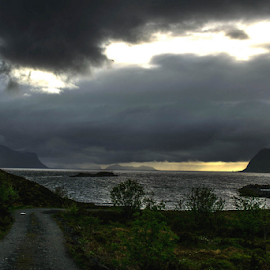 Before the storm by Florentin Purcarea - Landscapes Beaches ( clouds, mountains, storm, sun, fjord )