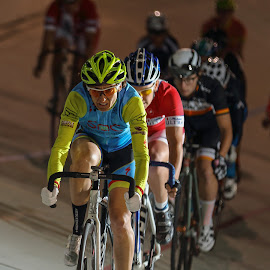 She rides at the front. by Steve Cohen - Sports & Fitness Cycling ( tuesday night racing, fixed gear, cycling for health, woman's racing, encino velodrome )