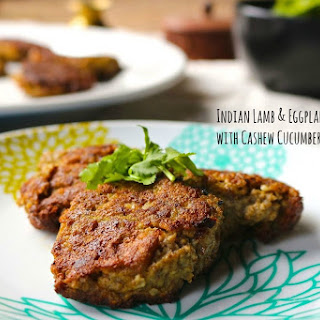Indian Lamb & Eggplant Fritters with Cashew Cucumber Raita