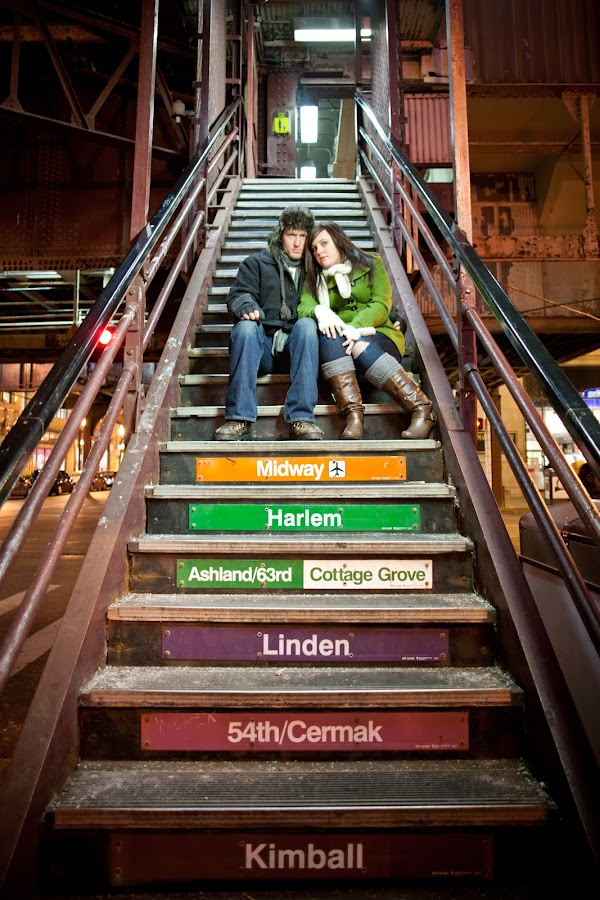 MICHAEL & NATALIE by Erin Watson - People Couples ( erin watosn photography, canon, flash, platform, steps, pwcflashes, city, love, winter, color, train, couple, erin watson, chicago )