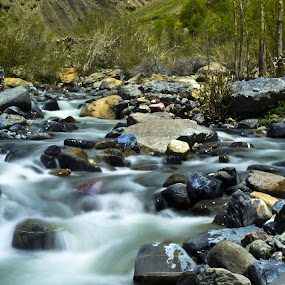 Flowing flow by Akash Deep - Landscapes Mountains & Hills ( slow water stream, flowing effect, flowing water, pin valley, water stream )