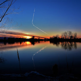 Glassy Trails by Kathy Woods Booth - Landscapes Sunsets & Sunrises ( mirrored reflections, calmness, waterscape,  )