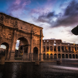 Morning in Colosseum by Aaron Choi - Buildings & Architecture Architectural Detail ( famous, reflection, europe, italian, arch, street, architectural detail, tourism, architecture, travel, gate, arco, roma, colosseum, winter, european, constantine, rome, arco di constantino, piazza, night, light, italy )