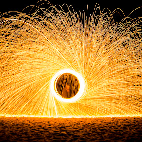 Steel wool by Ravikanth Kurma - Abstract Fire & Fireworks ( steelwool, spin, pwcfireworks-dq, sparks, steel, wool, fire, rays )