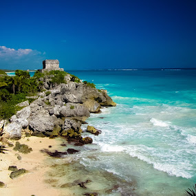 Ruins and the Sea by Carrie Cole - Landscapes Beaches ( mexico, sea, tulum, caribbean )
