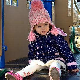 Charlotte's Winter Fun by Lynn Kirchhoff - Babies & Children Toddlers ( little girl, winter, january, slide, toddler,  )