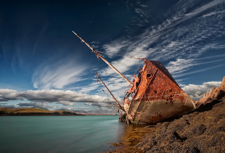 Final Destination by Þorsteinn H. Ingibergsson - Transportation Boats ( iceland, sky, nature, wreck, ship, structor, rusty, landscape, abandoned )