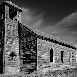 The Old Church by Mike Lee - Black & White Buildings & Architecture ( traveling, church, black and white, montana, rustic building, old church, travel, prairie )