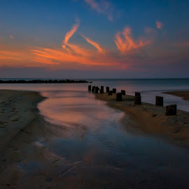 Days End by James Gramm - Landscapes Sunsets & Sunrises ( clouds, sand, color, sunset, long exposure, beach )