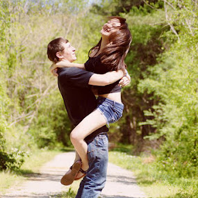 Cody and Grace by Sarah Minnihan - People Couples ( field, jumping, couples )