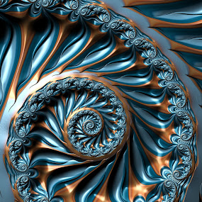 Blue gold spiral fractal by Pam Blackstone - Illustration Abstract & Patterns ( blue, spiral, gold, fractal,  )