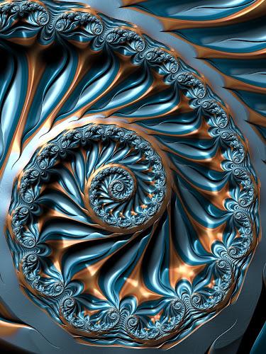 Blue gold spiral fractal by Pam Blackstone - Illustration Abstract & Patterns ( blue, spiral, gold, fractal,  )