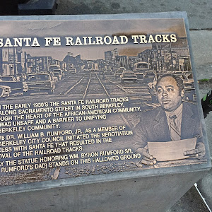 SANTA FE RAILROAD TRACKS FROM THE EARLY 1930'S THE SANTA FE RAILROAD TRACKS RAN ALONG SACRAMENTO STREET IN SOUTH BERKELEY, THROUGH THE HEART OF THE AFRICAN-AMERICAN COMMUNITY. THIS WAS UNSAFE AND A ...