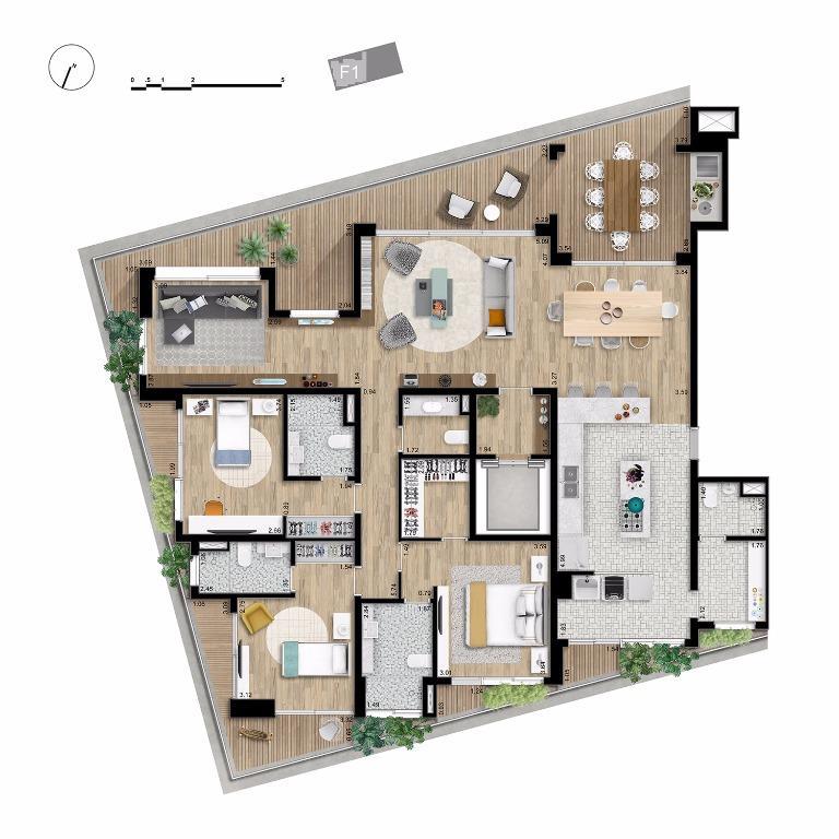 Apto Tipo Final 1 - 224 m²