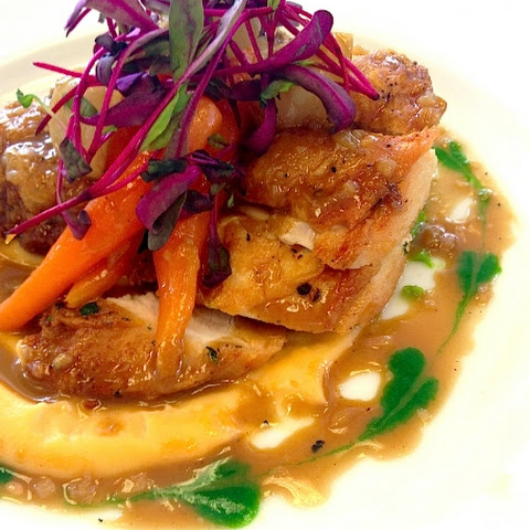 Pan Seared Spring Chicken with Carrots, Baby Turnips, Sweet Pea Puree, Tarragon and Cream