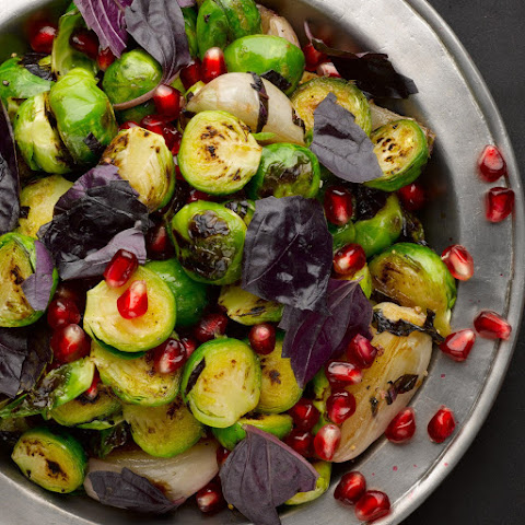 Pan-fried Brussels Sprouts And Shallots With Pomegranate & Purple Basil
