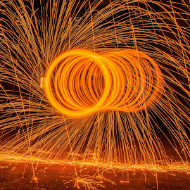 Fire Caretrpillar by Diana Sanderson - Abstract Fire & Fireworks ( steel wool, fire art, burning, fire spiral, fire )