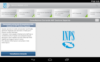 Screenshot of INPS Servizi Mobile per Tablet