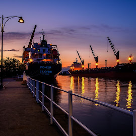 Harbour at night by Jack Brittain - Transportation Boats ( lights, lake ontario, canada, ship, outdoor, harbour, ontario, night, oshawa )