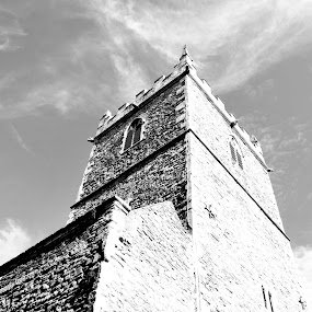 St Peter's Church by Amy-louise Maszuchin - Buildings & Architecture Places of Worship ( contrast, clouds, sky, church, strong, black and white, beautiful, perspective, architectural detail, architecture, worship, united kingdom )
