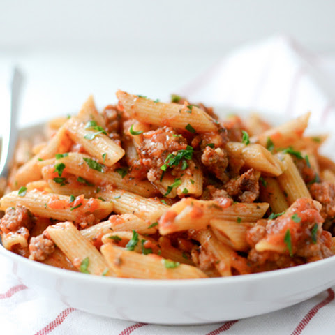 Whole Wheat Penne with Italian Sausage Tomato Sauce