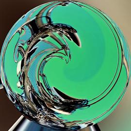 Emerald Sphere  by Dorothy Plumb - Digital Art Abstract ( green, swirl, waves, line, sphere, ocean, orbs, spheres, emeralds, orb, emerald, ocean waves, wave, ocean wave, breaker, lines, aqua, black )