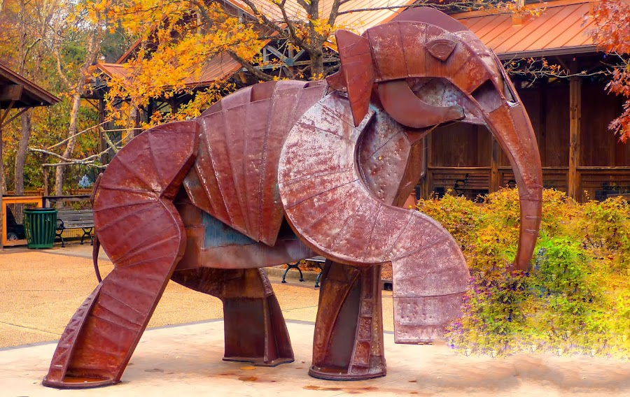 Elephant Sculpter by Dave Walters - Buildings & Architecture Statues & Monuments ( abstract, hattisburg zoo, lumix fz70, colors, artistic, rust,  )