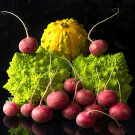 Radishes and Romanesque Broccoli  by Jim Downey - Food & Drink Ingredients ( radishes, red, green, broccoli, squash, yelloe, black )