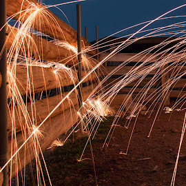corral by Adrian Ramirez - Abstract Light Painting ( ranch, burning steel wool, corral, long exposure )