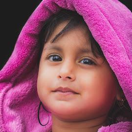 Innocence by Fares Ragunath - Babies & Children Child Portraits ( child, purple, innocence, beauty, portrait )