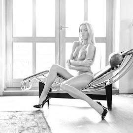 *Veronika / Lounge Chair 1* by Mika Leinonen - Nudes & Boudoir Artistic Nude ( haze, pose, sitting, nude )