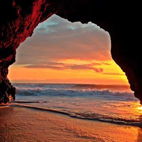 by Derek Gibbins - Instagram & Mobile iPhone ( sand, sunset, ocean, cave, dusk )