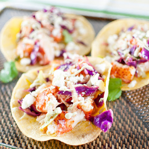 Lobster Tacos With Chili-lime Slaw And Avocado Crema
