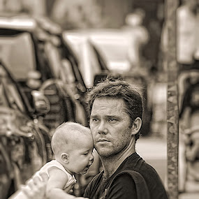Father and Baby by Sim  Chee teck - People Family ( baby, father )
