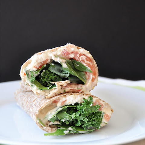Vegan Hummus, Ricotta, Kale, and Spinach Wrap