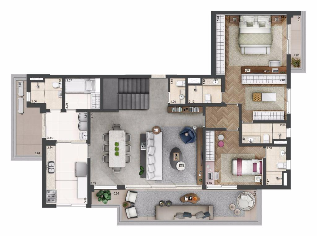 Planta Duplex Opção - 314 m²