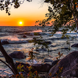 Sunset on Lake Winnipeg by Dave Lipchen - Landscapes Sunsets & Sunrises ( lake winnipeg, waves, sunset, lake )