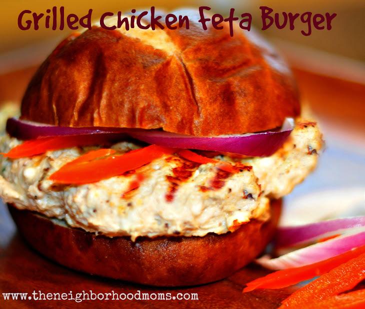 Grilled Greek Chicken Feta Burger Recipe | Yummly