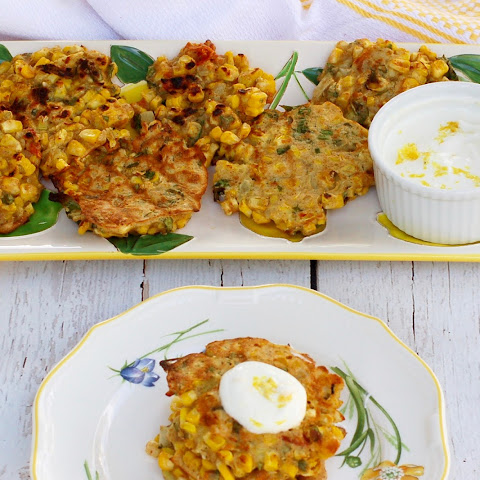 Corn & Basil Cakes with Lemon Yogurt Sauce