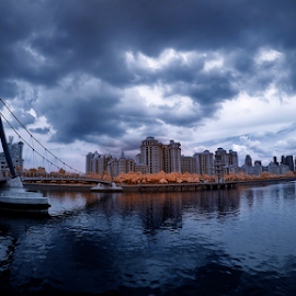Storm is coming by Jimmy Chiau - Landscapes Weather ( rainy day, infrared, cityscape, storm, singapore, river )