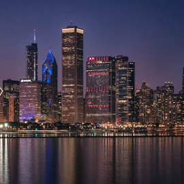 Chicago Skyline by Amy Ann - City,  Street & Park  Night