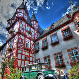 Green Car by Eric Demattos - Transportation Automobiles ( village, eric demattos, castle, germany, streets, antique car, cobblestone )