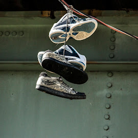 Hanging shoes by Andre Paul Therrien - Artistic Objects Other Objects ( hanging, shoes, suburbs, bullying, running, daylight,  )