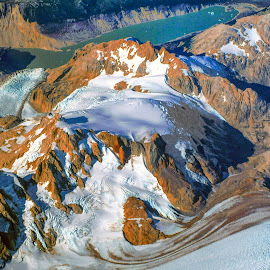 Glaciers seen from aerial... at sunrise by Stanley P. - Landscapes Travel ( water, glaciars )