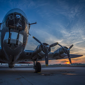 B-17 Flying Fortress Aluminum Overcast by John Spain - Transportation Airplanes ( b17, wwii, vintage, airplane, bomber, warplane )