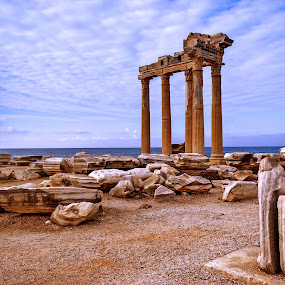 Turkey Side Temple Of Apollo by Graham Mulrooney - Buildings & Architecture Public & Historical ( masonry, ruin, columns, archeology, architecture, temple, ancient, anatolia, side, horizontal, ruins, archeological site, antiquety, turkey, turquoise coast, apollon )