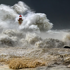 unbeaten by Malinov Photography - Travel Locations Landmarks ( dramatic landscapes, huge, waves, lighuouse, http://malinov-photo.comze.com, wave, ocean, storm, stormy, weather )
