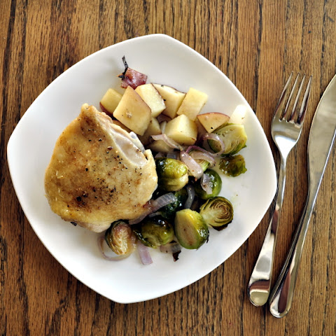 Baked Chicken Thighs with Brussels Sprouts and Potatoes